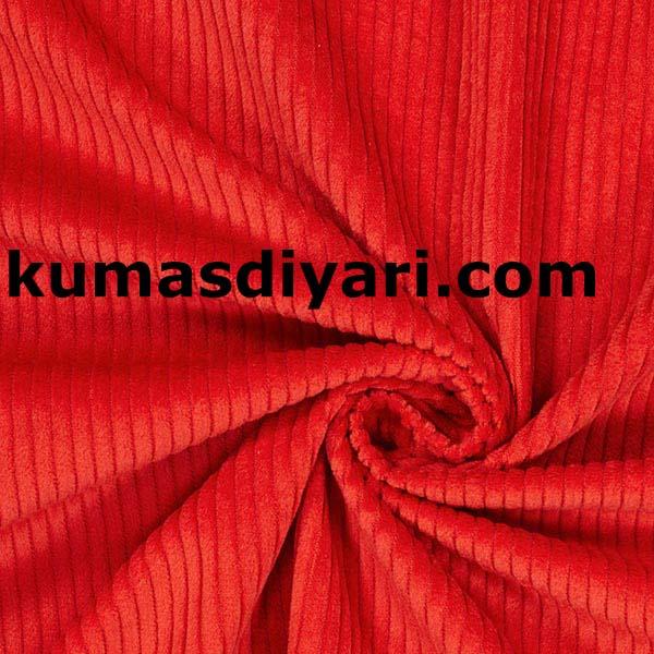 kırmızı fitilli kadife kumaş