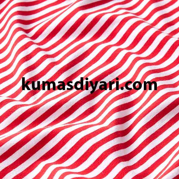 kırmızı beyaz çizgili likralı süprem kumaş çeşitleri ve modelleri kumasdiyari.com da