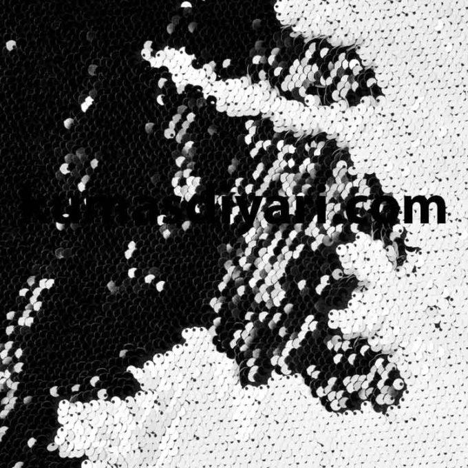 siyah beyaz çift taraflı payet kumaş çeşitleri ve modelleri kumasdiyari.com da