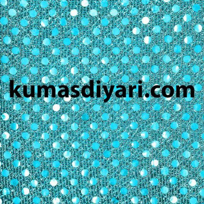turkuaz noktalı payet kumaş çeşitleri ve modelleri kumasdiyari.com da